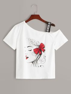 To find out about the Figure Print Asymmetrical Shoulder Letter Taped Tee at SHEIN, part of our latestT-Shirts ready to shop online today! Diy Clothes, Clothes For Women, T Shirt Painting, Trendy Girl, Latest T Shirt, Girls Boutique, Pulls, Shirts For Girls, Sleeve Styles