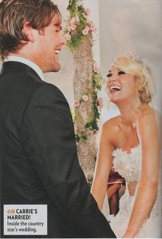 Carrie Underwood & Mike Fisher (July 10, 2010) Gown: Monique Lhuillier | Location: Georgia | Status: Married