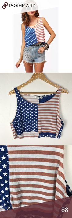 MINKPINK American Flag Cropped Tank Some wash wear ( fading / piling )✨ MINKPINK Tops