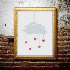 Stickvorlage für Kreuzstich mit süßem Regen-Motiv.  Stiche: 50w x 97h (insg. 1148) Größe des Stickbildes: 8,33 cm x 16,16 cm auf 12-fädigem Lein...