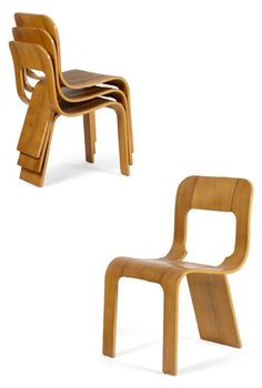 Mario Bellini; Bentwood Stacking Chairs, 1960s.