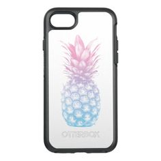 Tropical Pineapple Modern Blue & Pink OtterBox Symmetry iPhone 7 Case