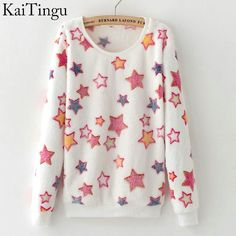 Autumn Style Long Sleeve Pullover Tops Colorful Stars Sweatshirt Hoodies For Women