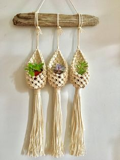 Items similar to SALE! The Pod Trio Macrame Succulent Plant Hanger on Etsy The Pod Trio Macrame Plant Hanger Etsy Macrame, Macrame Art, Macrame Projects, Macrame Knots, Diy Projects, Diy Plant Hanger, Crochet Plant Hanger, Macrame Hanging Planter, Macrame Plant Holder