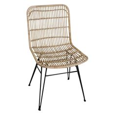 Bay Isle Home The Kaimakli Dining Chair is made of rattan with a black metal base. Will go great for use at the kitchen table. Black Leather Dining Chairs, Rattan Dining Chairs, Industrial Dining Chairs, Solid Wood Dining Chairs, Upholstered Dining Chairs, Dining Chair Set, Outdoor Chairs, Outdoor Furniture, White Chairs