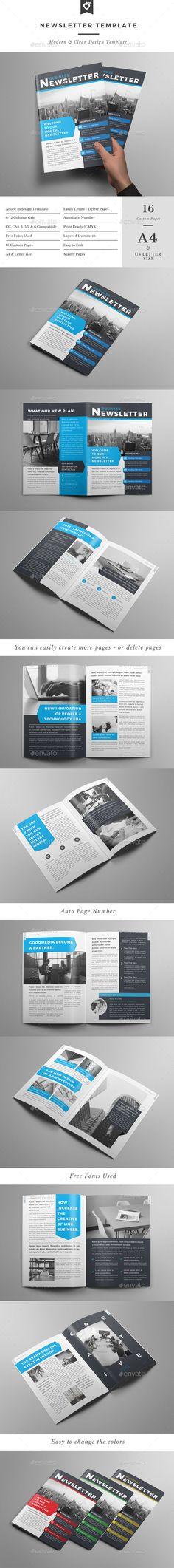 Newsletter - #Newsletters #Print #Templates Download here: https://graphicriver.net/item/newsletter/12940993?ref=alena994