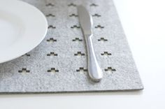Set of Rectangle Placemats / Swiss Cross / Felt by WoollyClouds
