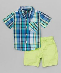 Another great find on #zulily! Blue Wasp Plaid Button-Up & Green Shorts - Infant by Nautica #zulilyfinds