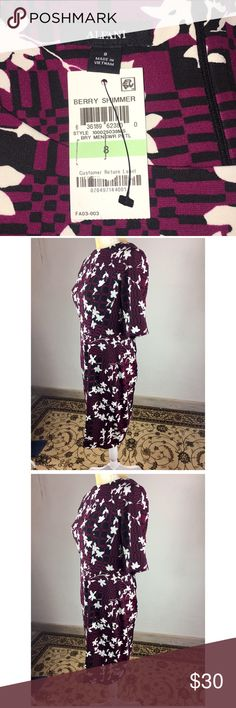 00c71a796714a0 Alfani Floral Berry Stretchy Casual Dress sz 8 Alfani New with tags Size 8  Medium weight