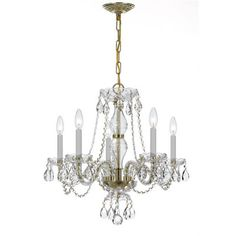 5 Light Crystal Chandelier V Crystal Grade: Hand Cut - http://chandelierspot.com/5-light-crystal-chandelier-v-crystal-grade-hand-cut-589854089/