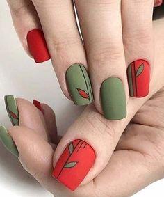 Nail Art Designs 💅 - Cute nails, Nail art designs and Pretty nails. Trendy Nail Art, New Nail Art, Cool Nail Art, Green Nails, Pink Nails, Glitter Nails, Green Nail Art, Green Art, Red Green