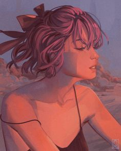 Sunset, an art print by miriam Art And Illustration, Gif Bonito, Space Artwork, Anime Pixel Art, Beautiful Gif, Aesthetic Gif, Cute Wallpaper Backgrounds, Anime Scenery, Anime Art Girl
