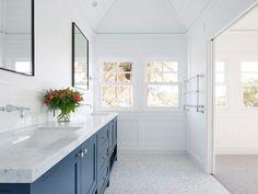 Stritt Design 038 Construction Mosman Residence Traditional coastal home Hampt Stritt Design Marble Bathroom Floor, Zen Bathroom, White Vanity Bathroom, Marble Floor, Small Bathroom, Marble Bathrooms, Carrara Marble, Bathroom Canvas, Bathroom Vintage