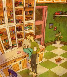 A small kiss while drinking coffee.  커피를 마시다가 살짝 뽀뽀를 했어요.