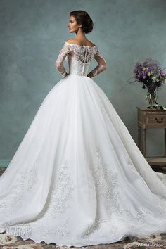 amelia sposa 2016 wedding dresses off the shoulder lace long sleeves overskirt stunning ball gown wedding dress celeste back view.