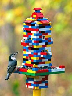 Lego Bird Feeder | 16 DIY Bird Feeder Ideas, see more at: http://diyready.com/diy-bird-feeder-ideas/