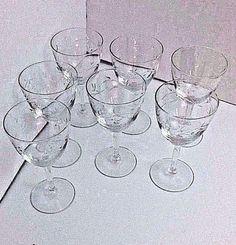 """Short Stem Wine Brandy Leaf Shot Glasses  5.1/4"""" H X 2.7/8"""" Dia Lot 7 Vintage"""