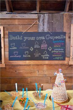 Build your own cupcake bar, directions. P.S. See the kransekake in the right hand corner? Recipe for that here: http://globaltableadventure.com/2012/08/02/recipe-scandinavian-ring-cake-kransekake/