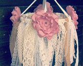 Burlap and Lace Backdrop Fabric Garland, Customize to match your event, 6 feet by 3 feet. $83.00, via Etsy.