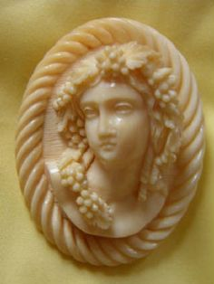 Victorian Hand Carved Ivory Bacchus Cameo Brooch Pin