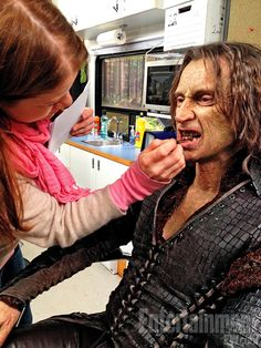 Photo by Ginny Goodwin. Though Ginnifer Goodwin generally logs about two hours in the makeup chair, it takes Robert Carlyle more than four hours to transform into the malevolent ­Rumplestiltskin.