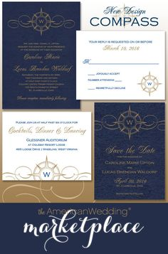 Compass Wedding Stationery Suite from The American Wedding!