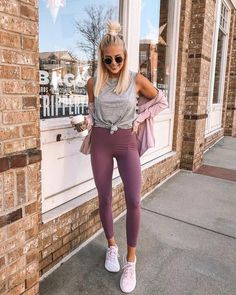 Street style, workout outfit, cute workout clothes, lululemon, yoga clothes - All About Legging Outfits, Athleisure Outfits, Athleisure Fashion, Dress Outfits, Fashion Outfits, Womens Fashion, Yoga Outfits, Casual Outfits, Summer Leggings Outfits