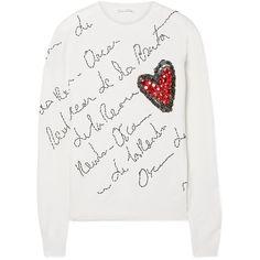 Oscar de la Renta Embellished merino wool sweater (28.291.600 IDR) ❤ liked on Polyvore featuring tops, sweaters, oscar de la renta sweater, embellished top, merino sweater, merino wool tops and cream top