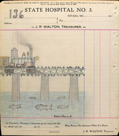 A bridge by The 'Electric' Pencil or is it really the Ectlectrc Pencil?  By an anonymous patient at a mental health hospital in Missouri around 1910 whose drawings were found in a crudely bound book of hospital invoices