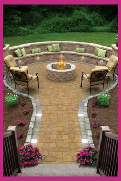 Backyard Fire Pit Ideas and Designs for Your Yard, Deck or Patio outdoor fire pit seating ideas for Large Backyard Landscaping, Backyard Seating, Fire Pit Backyard, Backyard Patio, Landscaping Ideas, Backyard Fireplace, Backyard Kitchen, Diy Fire Pit, Patio Design