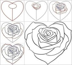 Pictures to draw of roses easy drawings of roses easy to draw rose sketch inspirational how . pictures to draw of roses Drawing Skills, Drawing Techniques, Drawing Tips, Drawing Sketches, Learn Drawing, Sketching, Drawing Ideas, Rose Step By Step, Step By Step Drawing