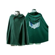 New Attack on Titan Survey Corps Eren Mikasa Levi Cloak Costume... (€27) ❤ liked on Polyvore featuring costumes, anime, attack on titan, jackets, cosplay halloween costumes, green costume, animal halloween costumes, animal costumes and cosplay costumes