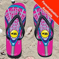 Lacrosse Stick Pink/Blue Girls Flip Flops - Kick back after a lacrosse game with these great flip flops! Fun and functional flip flops for all lacrosse players and fans.