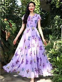 Ericdress offering cheap maxi dresses is worth your visit. Good quality maxi dresses for women on sale here, such as white floral long maxi dresses with sleeves. Cheap Maxi Dresses, Indian Gowns Dresses, Stylish Dresses, Fashion Dresses, Summer Dresses, Long Gown Dress, Saree Dress, Maxi Dress With Sleeves, Floral Maxi Dress