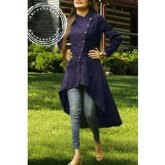 Latest Designer Nevy Blue Slub Cotton Kurti