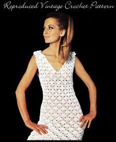 Vintage 70's Crochet MINI Dress  PDF Pattern  UK by KinzieWoolShop
