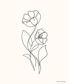 Flower Lines Poster in the group Posters & Prints / Illustrations at Desenio AB Line Art Flowers, Flower Line Drawings, Botanical Line Drawing, Simple Line Drawings, Flower Art, Illustration Ligne, Art Sketches, Art Drawings, Tattoo Drawings