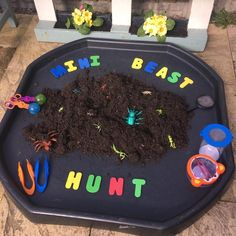 We can't have mini beast week without a bug hunt. Eyfs Activities, Nursery Activities, Activities For 2 Year Olds, Toddler Activities, Minibeasts Eyfs, Tuff Tray Ideas Toddlers, Bug Hunt, Reception Activities, Tuff Spot