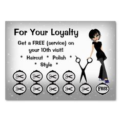 Beauty Salon Loyalty Business Cards buy 9 1 free