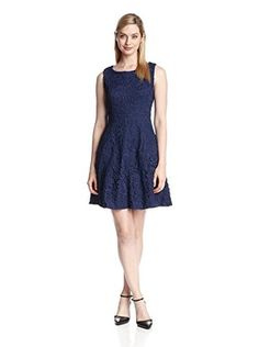 Eva Franco Women's Haven Lace Fit-and-Flare Dress (Frosted Licorice)