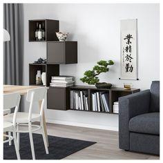 EKET Wall-mounted cabinet combination - dark gray - IKEA - Lilly is Love Ikea Eket, Ikea Wall, Ikea Living Room, Ikea Bedroom, Wall Design, Interior Design, Furniture, Home Decor, Ideas