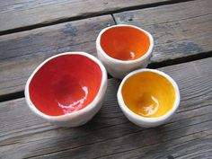 Hot Lava Bowls - Little Ceramic Bowls - Spice Dish - Ceramics and Pottery - Red Orange and Yellow - Small Pet Bowl -  Outdoor Patio Decor