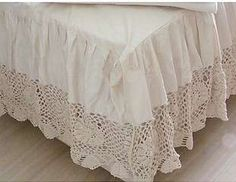 Vintage Crochet Lace Bed Skirts | Super King Crochet Lace Bed Skirt Sheet Set 198cmx203cm