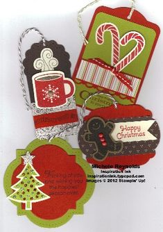 Scentsational season gift tags -- using Stampin Up's Scentsational stamp set and tag die
