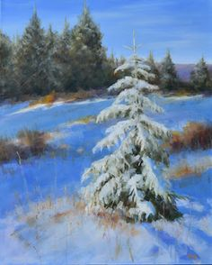"""Contemporary Artists of Colorado: Original Landscape Painting """"Dressed For The Holidays"""" by Western Colorado Artist Barbara Churchley"""