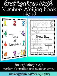 This Number Writing Book is great for math at the beginning of the year in kindergarten. Students are introduced to tracing and printing numbers 1 to 10. They learn one-to-one correspondence as they learn to represent numbers using ten frames, tally marks, dominoes, and number lines.