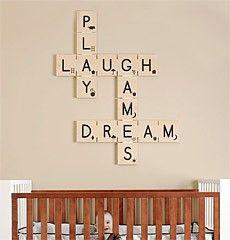 Scrabble wall art for the nursery.