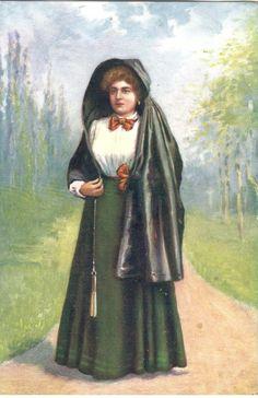 Malta - Maltese lady with faldetta - Tuck Oilette post card