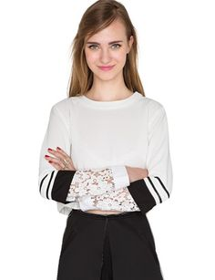 Pixie Market White Lace Crop Top - Cute Lace Sleeve Top -$52