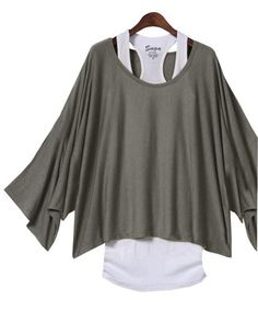 2in1 T shirts Damen Casual Bluse Tunika + Weste Basic-Tops,Farbe Grau